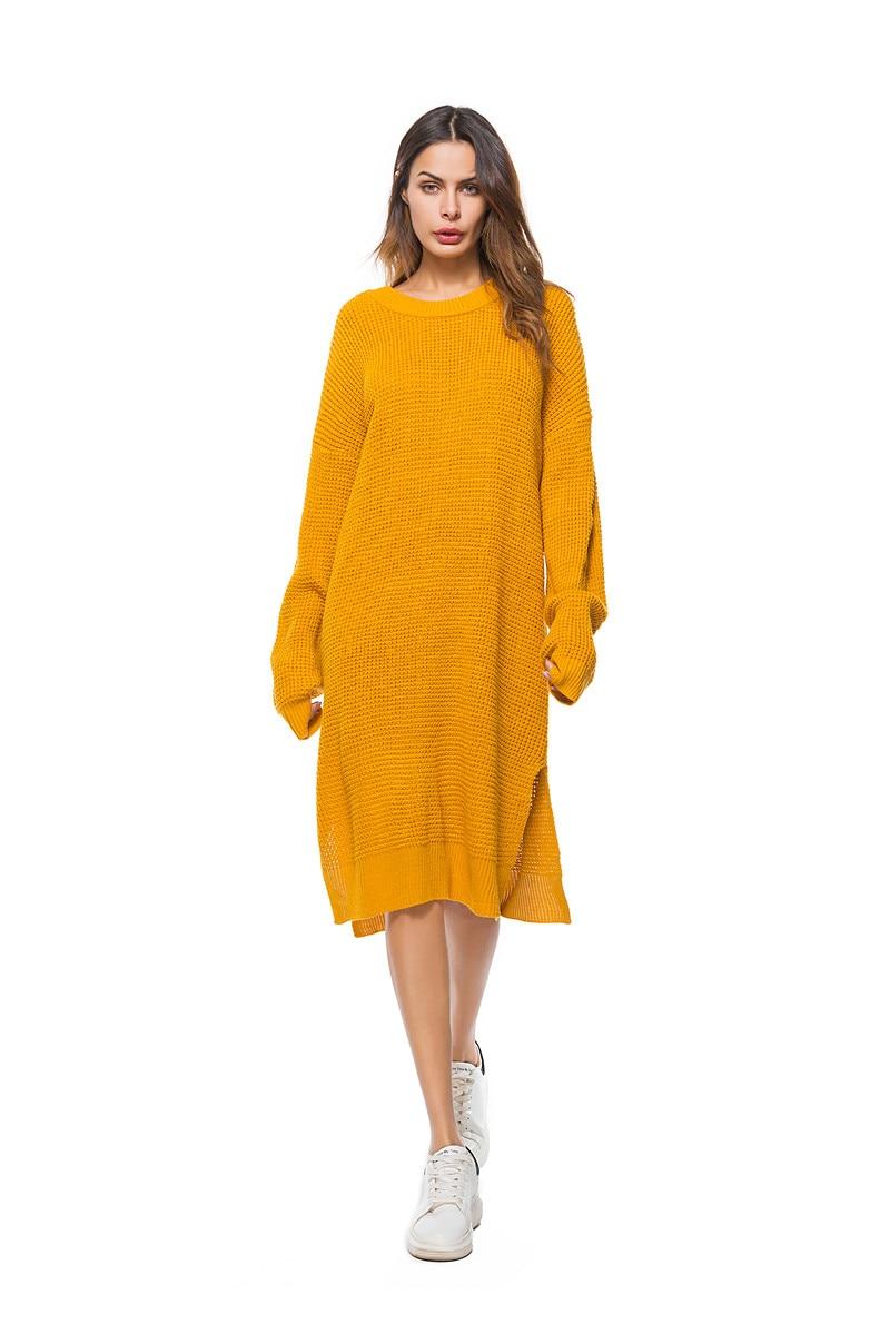 Fall Winter Vintage Mustard Side Slit Crochet Sweater Dress for Women Cute Ladies Retro Cosy Loose Split Pullover One Size 20
