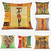 African Woman Dancing lady africa art painting Cushion Cover Home Decoration house sofa chair seat pillow case kids friend gift bohemian geometric set art cushion cover decoration for home house sofa chair seat pillow case kids gift friend bedroom present