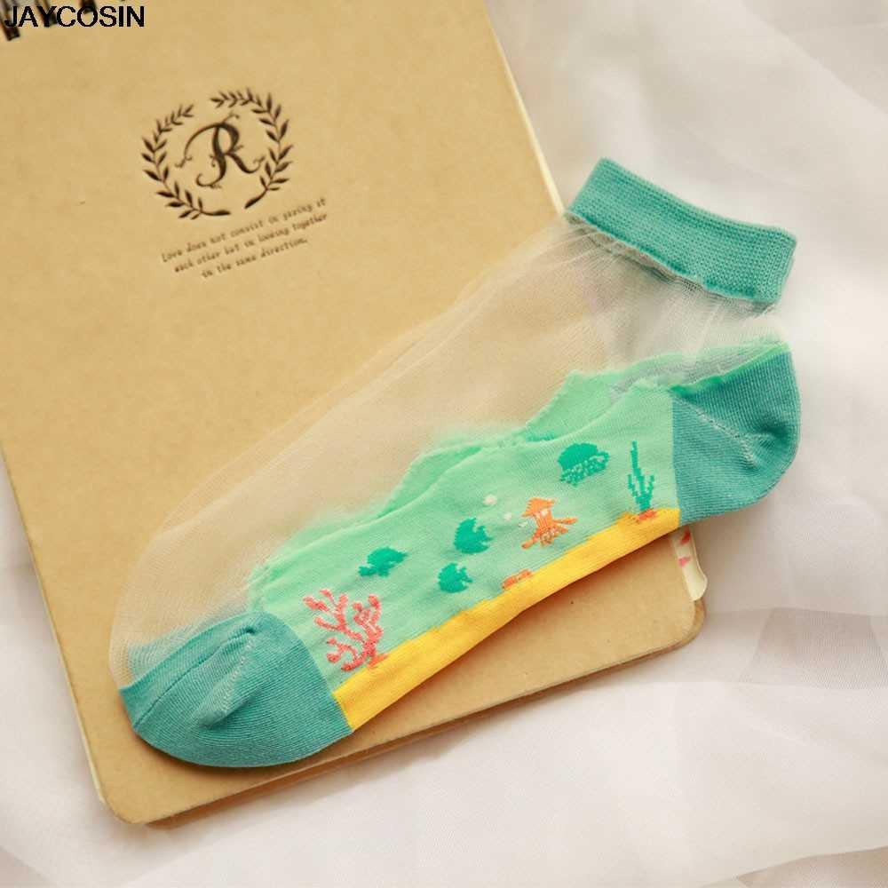 JAYCOSIN/Модные женские Короткие Прозрачные хлопковые носки до щиколотки с рисунком из мультфильма, удобные повседневные носки, хит продаж, Sale20190226