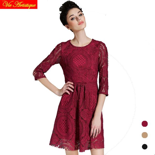women\'s lace render dress long sleeve office dresses large plus size ...