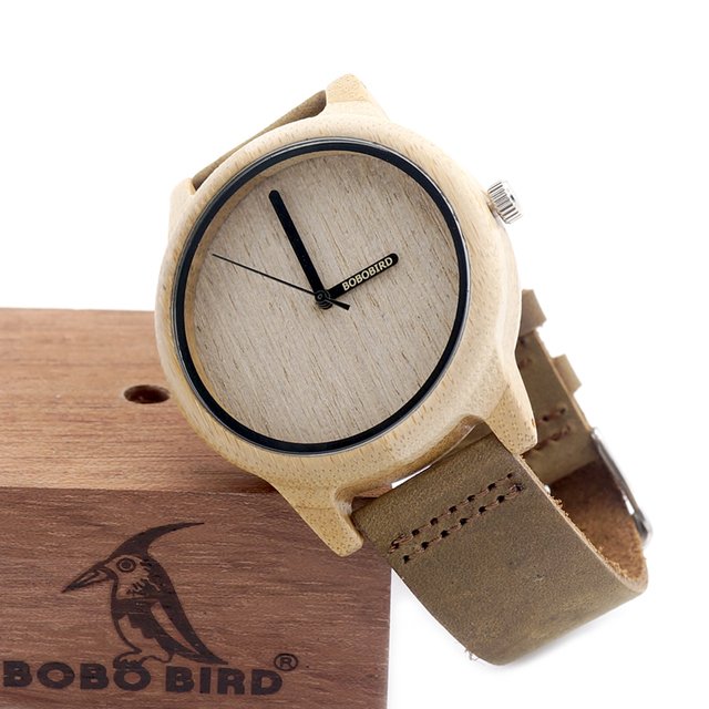 BOBO BIRD Mens Vintage Round Wristwatch With Real Leather Band Bamboo Wooden Quartz Watches in Box
