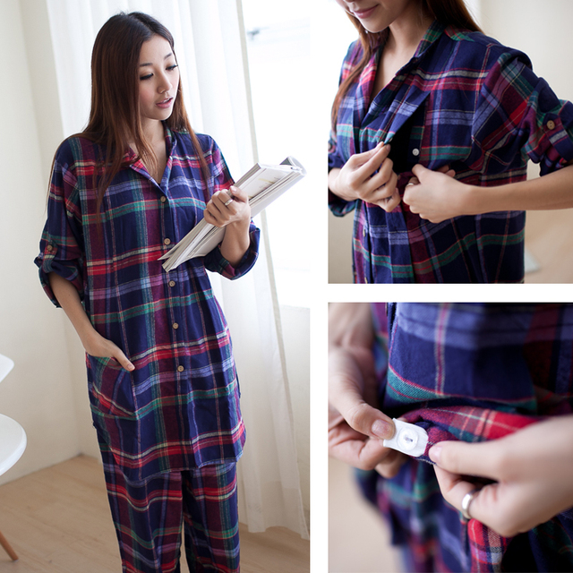 100% Cotton Materinty nursing pajamas  Long Sleeve plaid pajamas set  Maternity  sleepwear for Pregnant Women