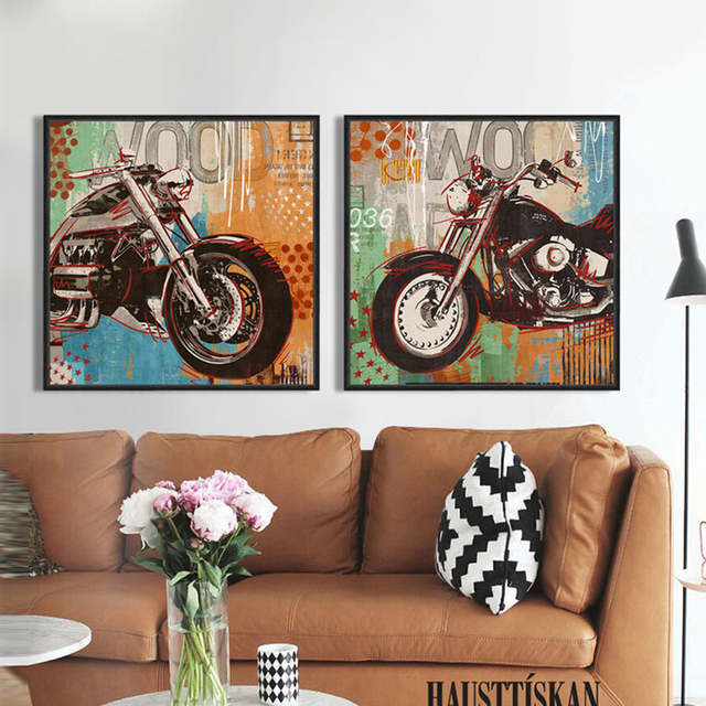 Street art graffiti Motorcycle automobile canvas wall art home ...