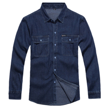 Новинка, Мужская джинсовая хлопковая джинсовая рубашка с длинным рукавом, мужская рубашка свободного кроя, синяя рабочая одежда, мужские джинсовые рубашки мужские рубашки Chemise Homme