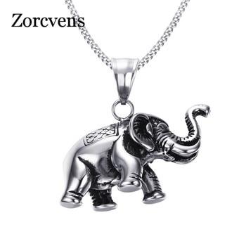 ZORCVENS hommes petit collier éléphant chanceux argent couleur acier inoxydable pendentif breloques animaux bijoux