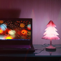 ICOCO USB Recharageable Colorful LED Touch Control Night Light Mini Christmas Tree Desk Lamp Foldable Book