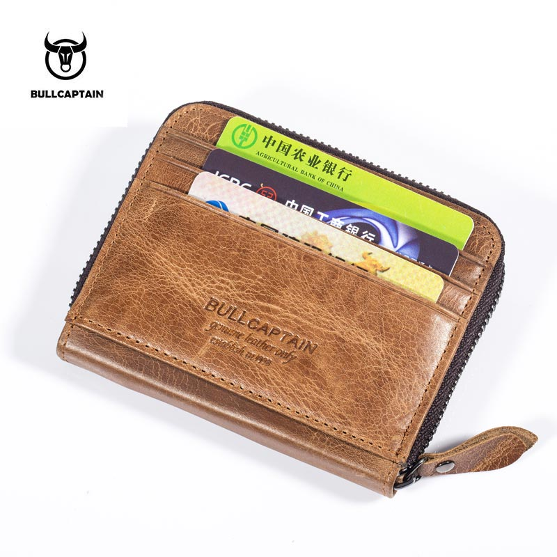BULLCAPTAIN men Wallet Business Card Holder cardholder leather cow ...