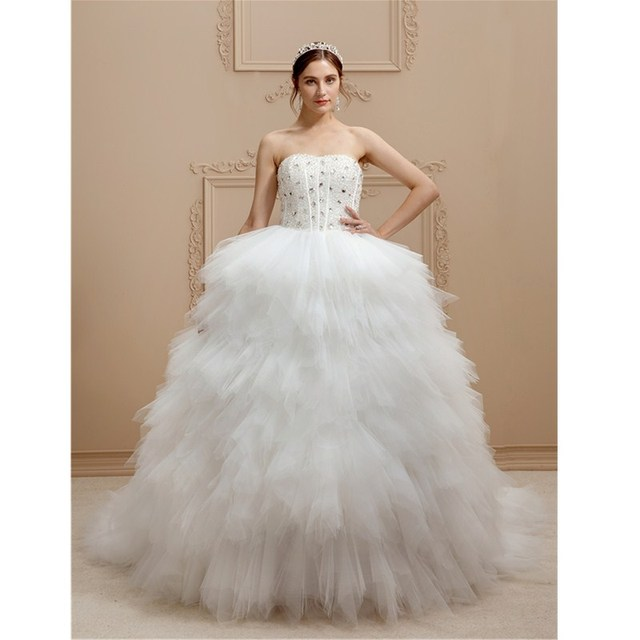61c10e721d0b LAN TING BRIDE A-Line Strapless Cathedral Train Wedding Dress Tulle Stretch Satin  Bridal Gown with Beading Tiered