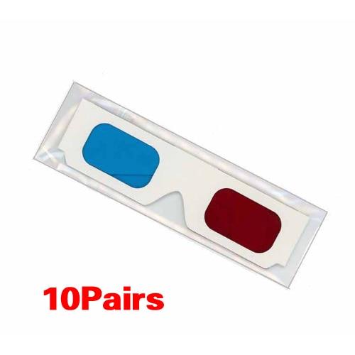 427eb78ee ᗔ10 أزواج من الأحمر/سماوي كرتون 3D نظارات - w409