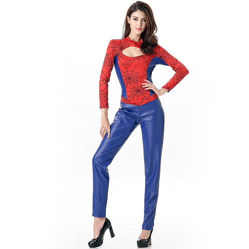 pu spiderman costumes 2016 wholsale bat men women halloween costume cosplay roleplay stage party role play sexy spider hero cos - Heroes Halloween Costumes