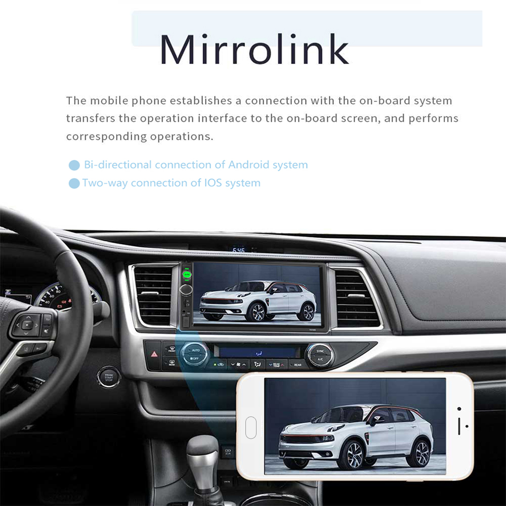 Podofo 2 din Car Radio 7 HD Autoradio Multimedia MP5 Video Player Auto Stereo Bluetooth USB SD 2din Radio Car Backup Monitor (4)