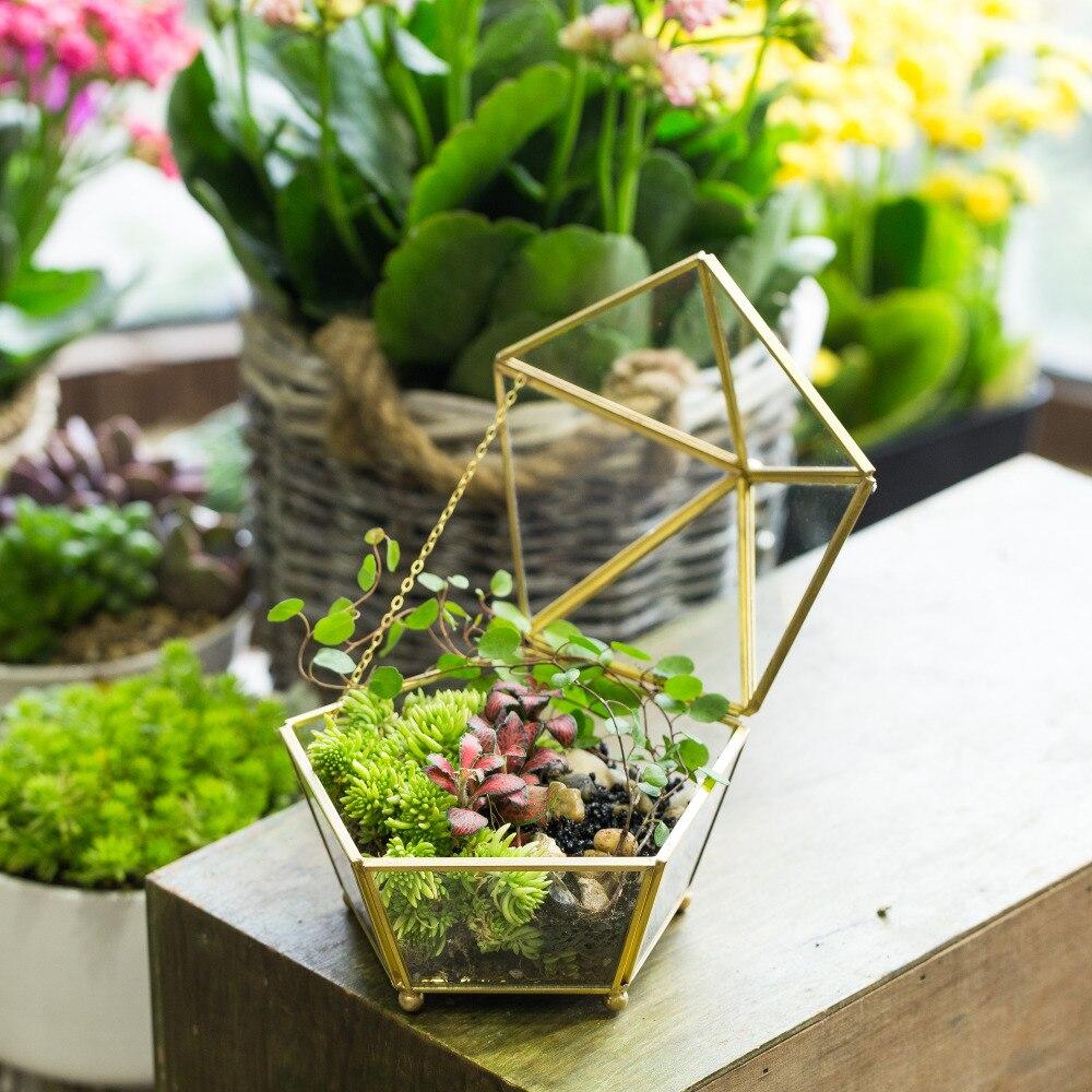 Clear Glass Geometric Jewel Box Shape Flower Pot Planter Tabletop