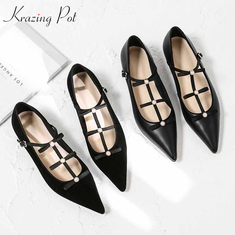 Krazing Pot 2019 genuine leather buckle straps pointed toe women flats loafers brand bowtie pearl studded