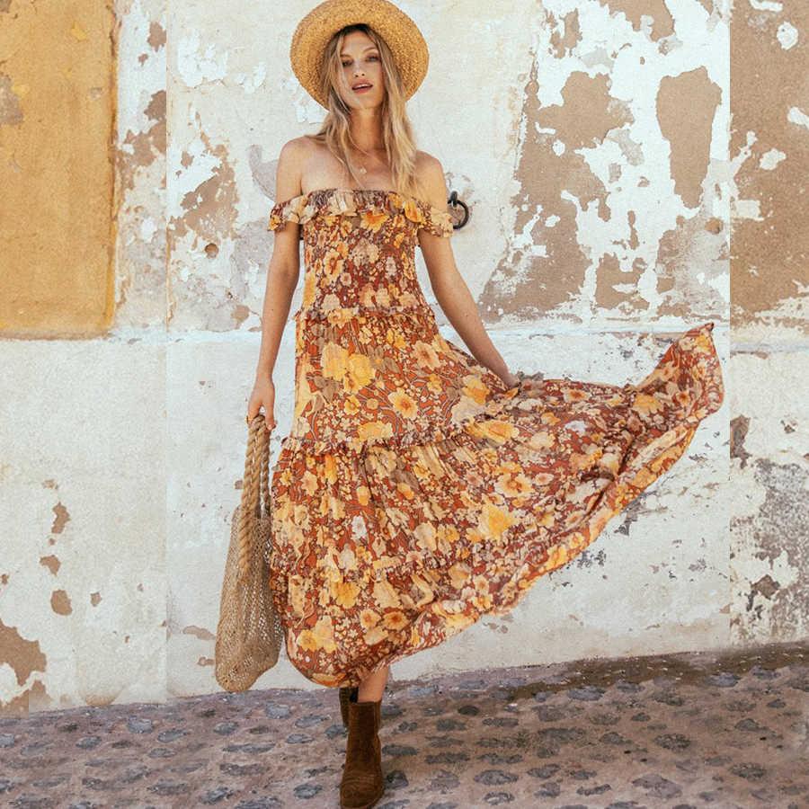 24af461aad908 Yellow Shirred Bodice Floral Printed Ruffles Hem Mini Dress Summer ...