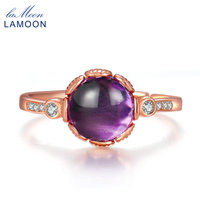 LAMOON 8mm 2 3ct 100 Natural Roundness Purple Amethyst 925 Sterling Silver Jewelry Rose Gold Ring