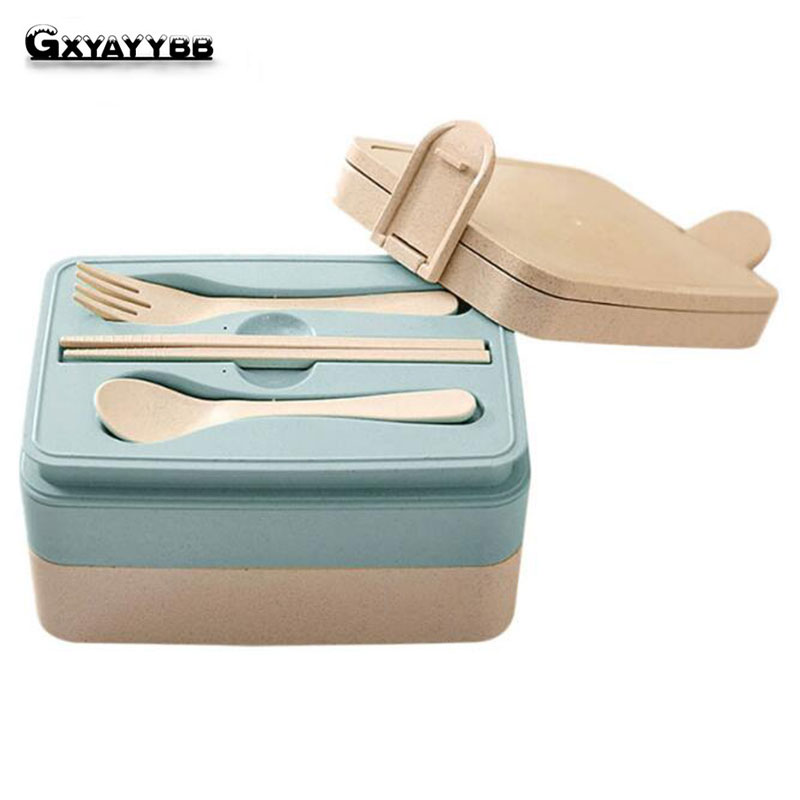 Wheat Straw Multifunctional Preservatio Lunch Boxs Containers With Compartments Microwave Bento For Kids Picnic Food Container