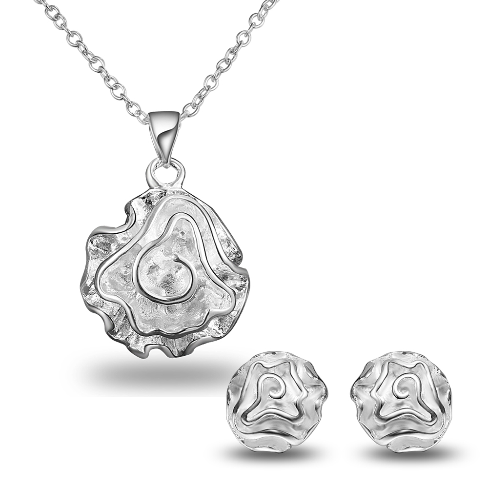 Jewellry Set Fashion Silver Plated Flower Designs Earrings Necklace Earrings Set