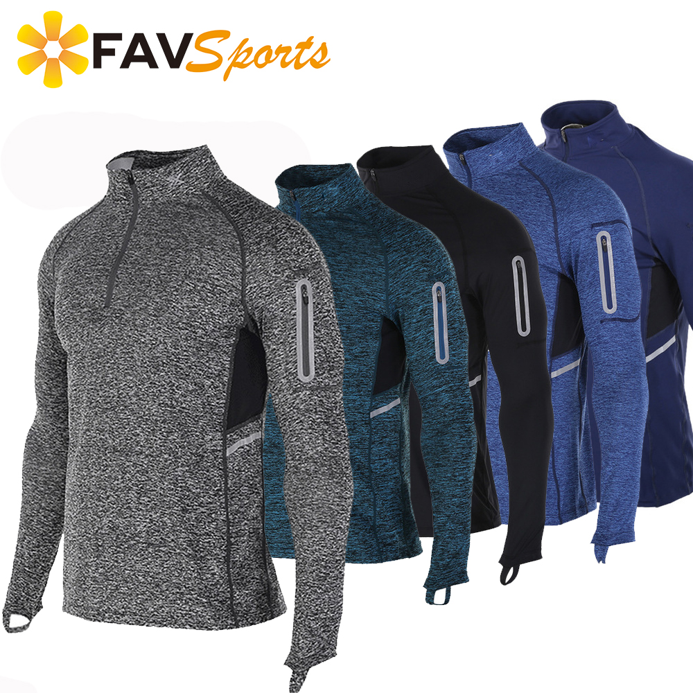 FAVSPORTS Gym Long Sleeve Shirt Men Fitness Crossfit Tops Quick Dry Running Hiking Cycling Compression Outdoor Men Gym Shirts