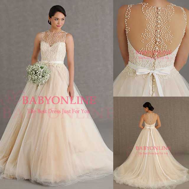 Aliexpress compre princes dreamy wedding dress 2014 transparent princes dreamy wedding dress 2014 transparent back pearl beaded vestido noiva sexy custom made vestidos de junglespirit Images