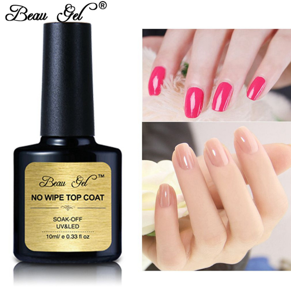 Beau Gel 10ml No Wiping Top Coat Shinning Soak off Gel Smalto per unghie Gel a lunga durata Senza strato appiccicoso Top Coat Gelpolish