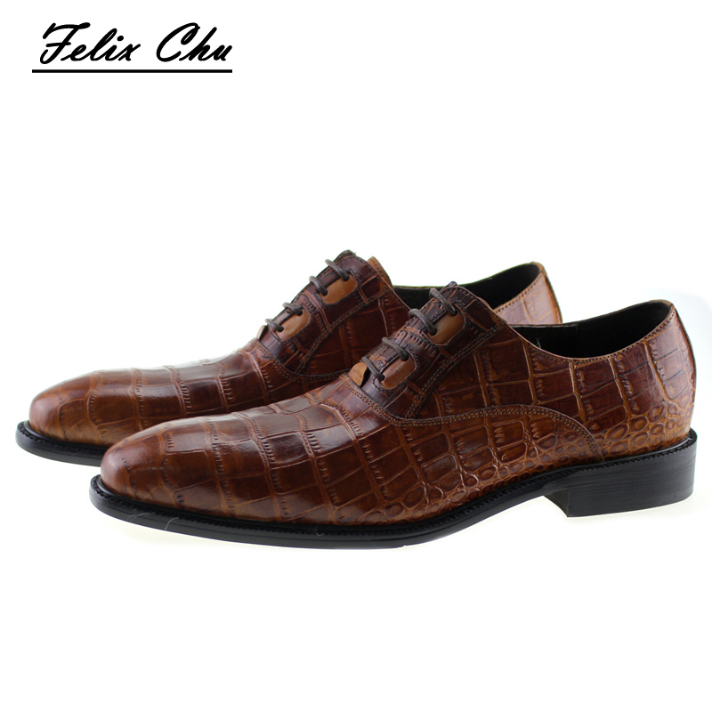 2017 New Italian Modern Men Formal Oxford Shoes Genuine Leather Crocodile Print Brown Lace Up Dress Men's Footwear 1815-810 blaibilton formal dress men shoes oxford 100