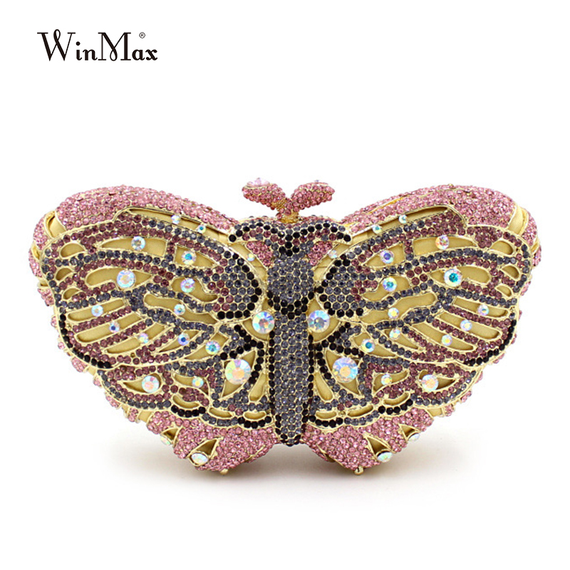Winmax popular luxury evening bag Sparkly Crystal women party bag Colorful butterfly pattern Ladies dinner bag prom Clutch purse winmax popular body board