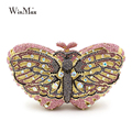Winmax popular luxury evening bag Sparkly Crystal women party bag Colorful butterfly pattern Ladies dinner bag prom Clutch purse