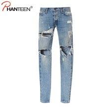 Kanye West Justin Bieber Angst Gottes Männer Jeans Gewaschen Ripped Lässige Jeans Street Style Seitlichem Reißverschluss Mode Mann Marke Jeans