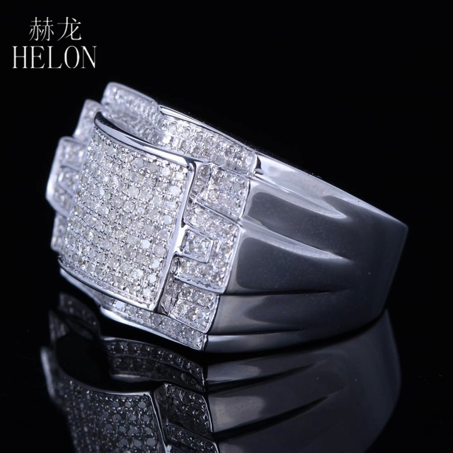 HELON 925 Sterling Silver Men's Band Stylish Party Glamorous Wedding Genuine Natural Diamonds Ring Fine Jewelry Designer Band