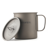 Yofeil ultralight titanium cup outdoor camping picnic with cover cup mug collapsible handle 450ml high quality camping tableware