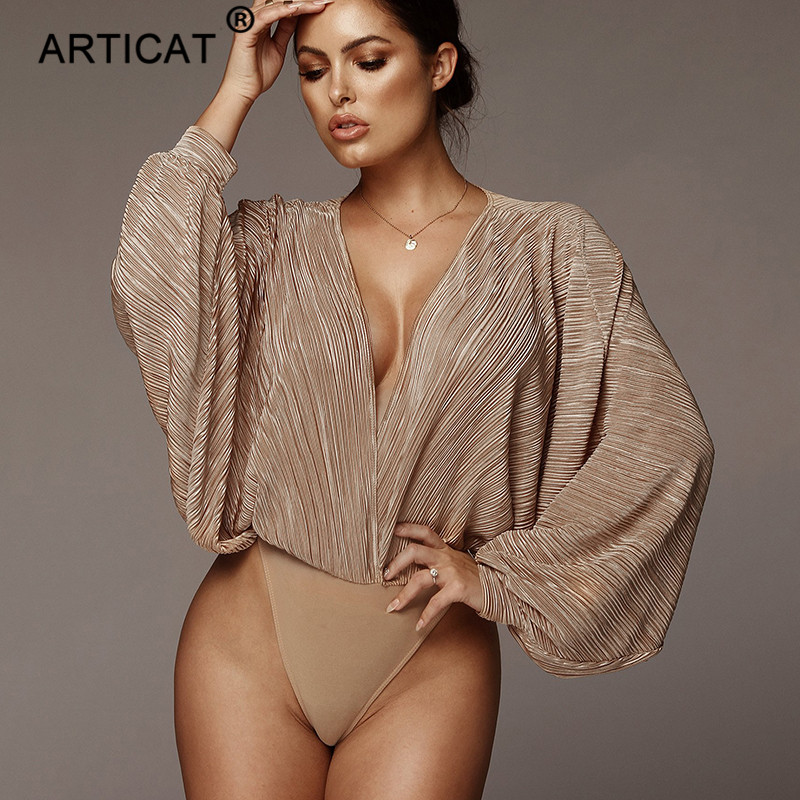 Articat Deep V Neck Sexy Bodysuit Women Tops Long Sleeve Loose Rompers Womens Jumpsuit Spring Casual Body Suit Party Overalls