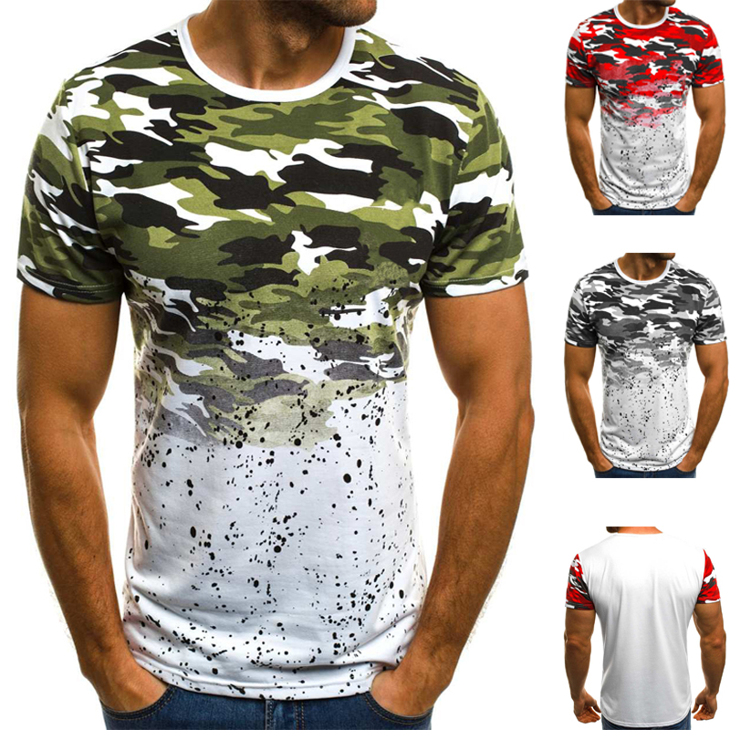 Men Camouflage Printed Male T <font><b>Shirt</b></font> Large size Bottoms Top Tee Male Streetwear Short Sleeve Fitness <font><b>Big</b></font> Tshirts High Quality image
