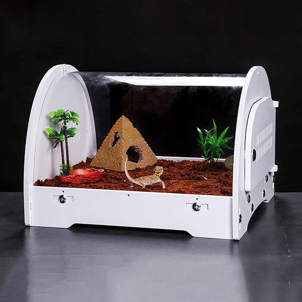 Terrarium Vivarium White Space Pod With Clear Acrylic Dome With Heating Pad Slot For Gecko Snake Tortoise Reptile Desert Kit