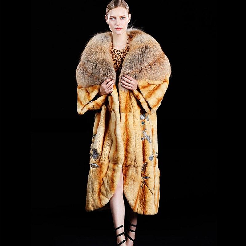 М. Y. fansty Роскошные импортируется из Северной Америке Limited тяжелой промышленности пользовательские Platinum Gold Мех пальто женские золотые волос...