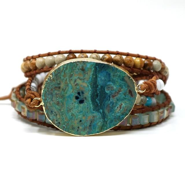 Ручной работы богемные натуральные камни обёрточная бумага кожаный браслет Тибетский homme femme синий океан обхватываемый браслет с камнями т...