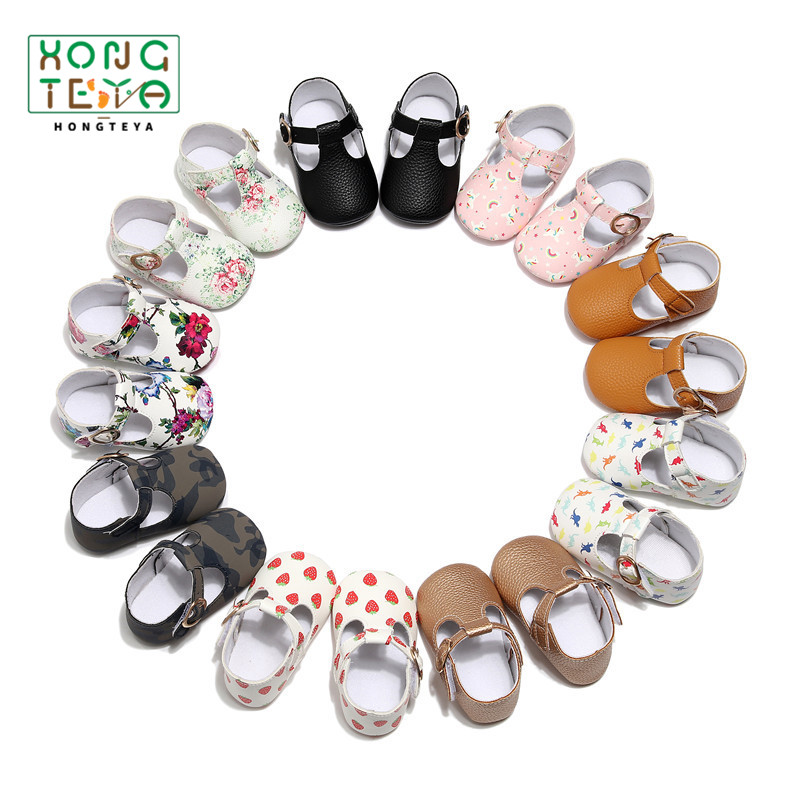 PU Leather Soft Sole Baby Girls Shoes T-bar Flower Print Infants Toddler Baby Moccasins Shoes Firstwalkers Newborn Crib Shoes