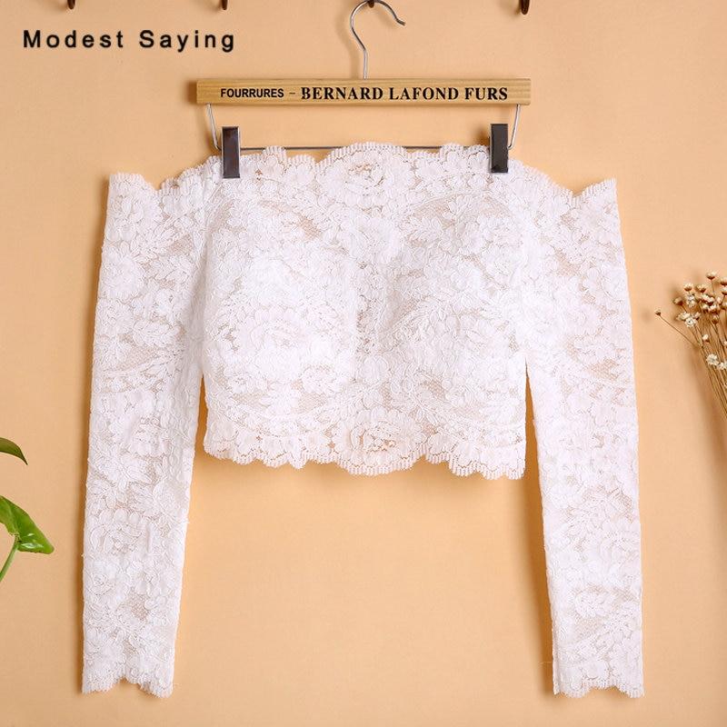Elegant Ivory Off The Shoulder Long Sleeves Lace Wedding Boleros 2018 Lace Ups Women Bridal Capes Jackets Wedding Accessories