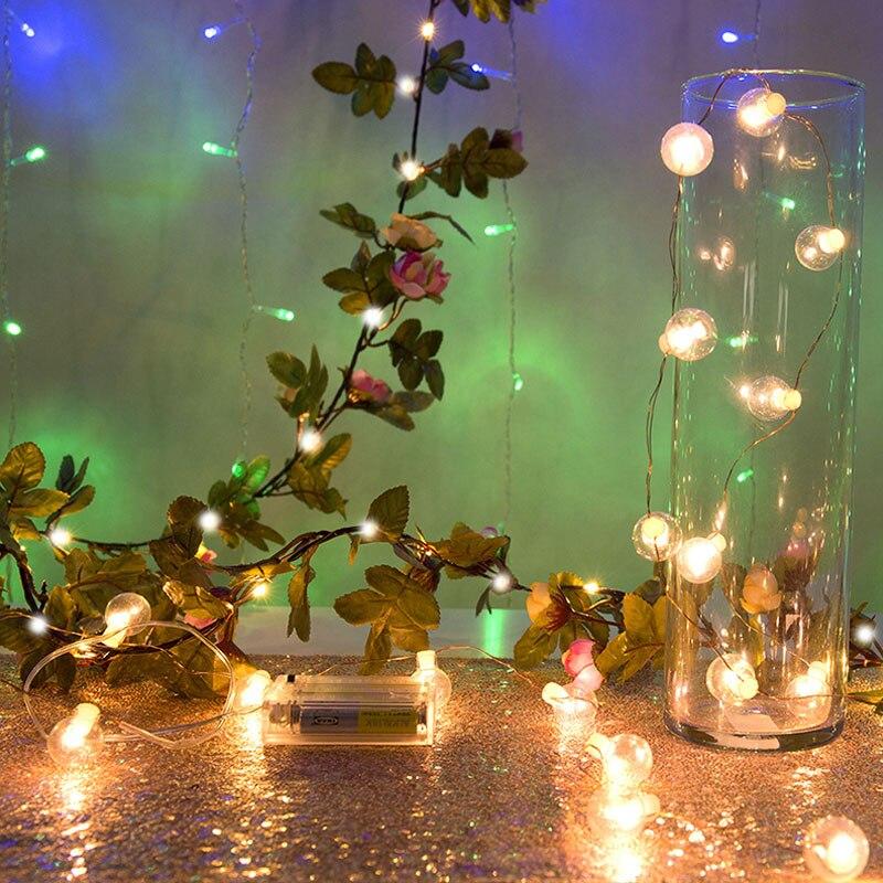 LEDs Flower Leaf Light 2M/5M/10M Garland Battery Operate Copper LED Fairy String Lights For Party Christmas Weddingdecoration