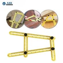 Многоугольная линейка шаблон 4 складной угловой измерительный инструмент кирпичная плитка деревянная угловая продукция складная линейка транспортир