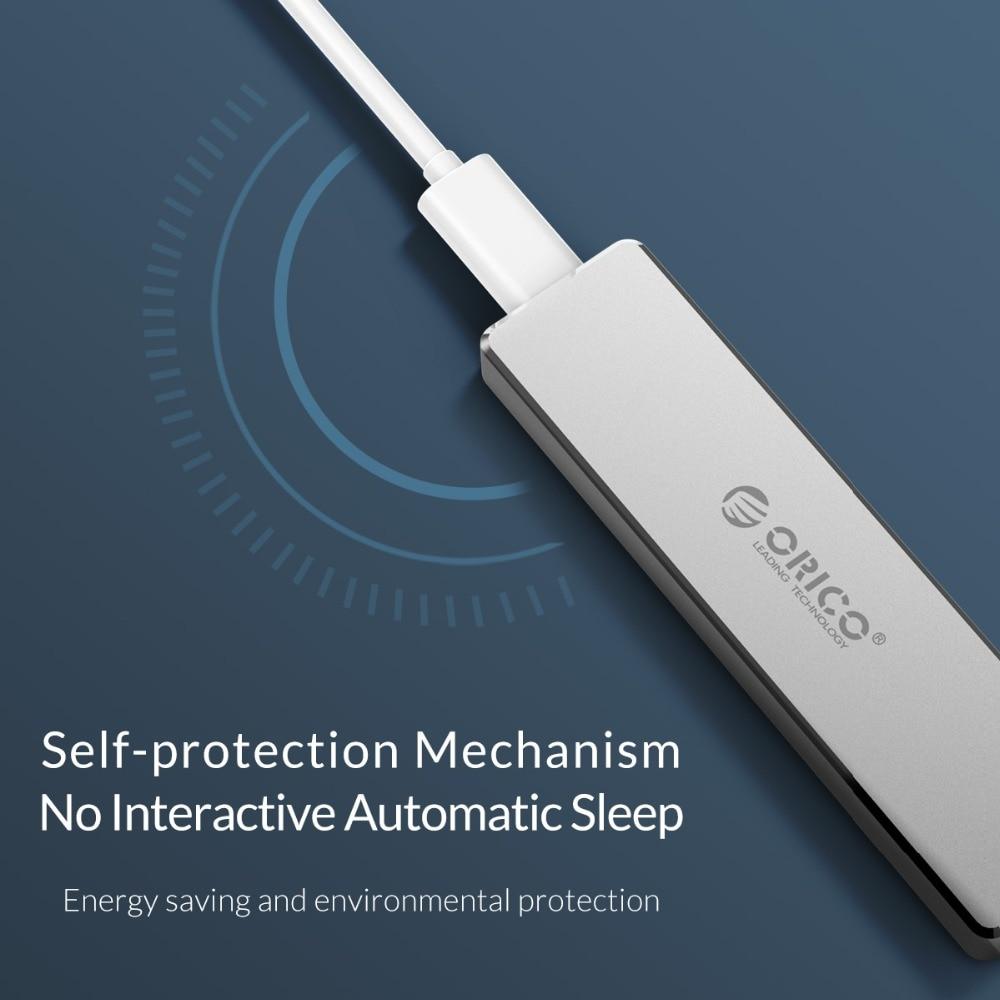 ORICO M.2 M clé SSD à USB 3.1 Type C boîtier M.2 Portable SSD cas de disque dur Mini Clip pousser boîtier ouvert mallette de rangement 2 To - 4