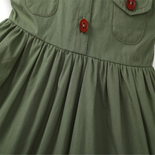 Fashion Casual Army Green Cotton Baby Girl's Dress
