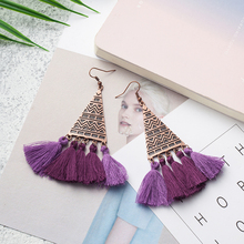 Купить с кэшбэком Vintage boho triangle alloy fringed earrings for women ladies Bohemian ethnic long tassel dangle earing 2019 fashion jewelry