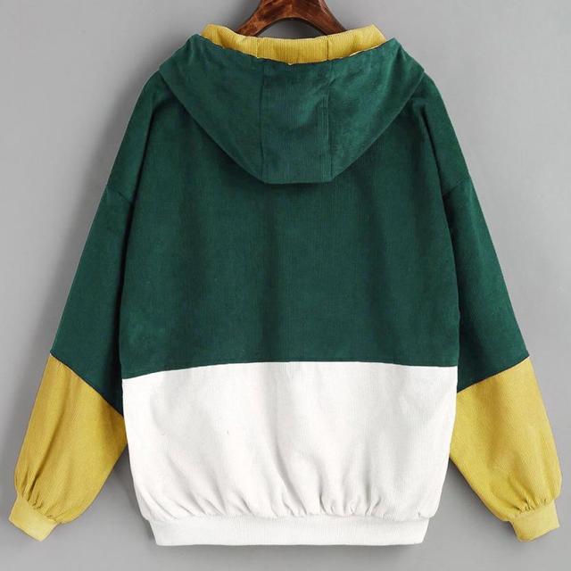 Long Sleeve Corduroy Patchwork Oversize Zipper Jacket Windbreaker coats and jackets women 3