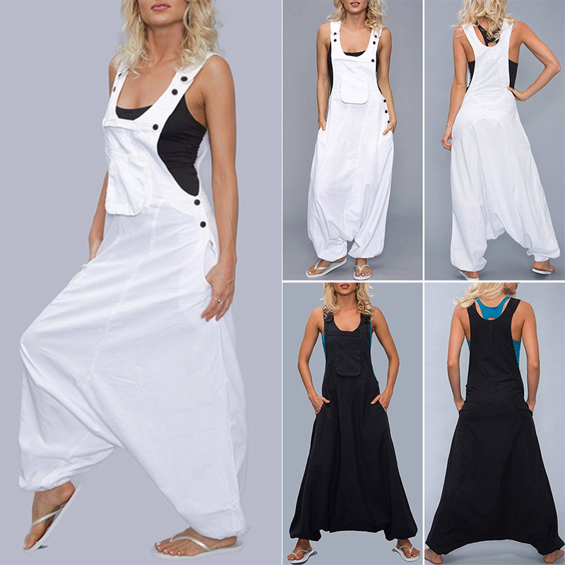 Women Casual Loose Sleeveless Drop Crotch Overall Jumpsuit Bodysuit Romper Beach in Jumpsuits from Women 39 s Clothing