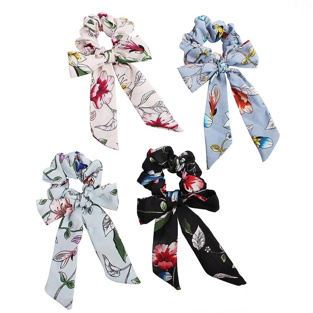 Hair Bows Scrunchies Women Hair bands Accessories Elastic Bowknot Scrunchy Streamer Spring flowers Hair tie Ring 50pcs F404