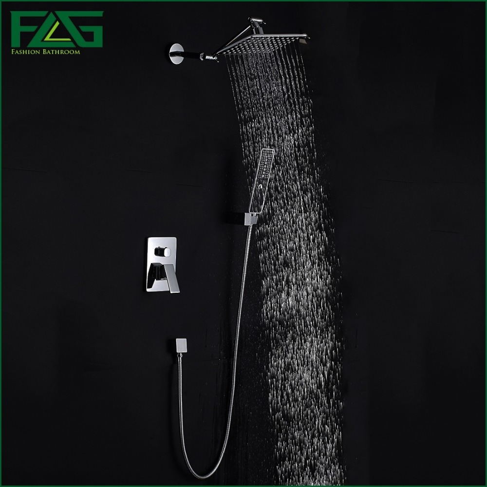 FLG Concealed Shower Set In Wall Shower Faucet 8 inch Square Rainfall Shower Head Bath Tap Mixer With Hand Hold Sprayer HS044