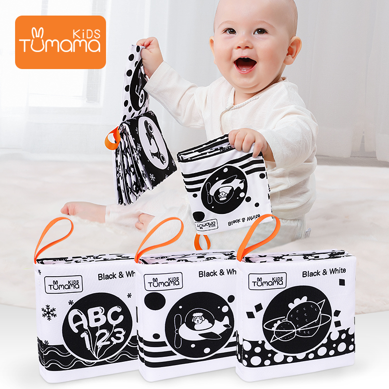 3PCS Baby Cloth Books Early Learning Educational Toys Black White Soft Cloth Development Books Cartoon Animal Infant Toys