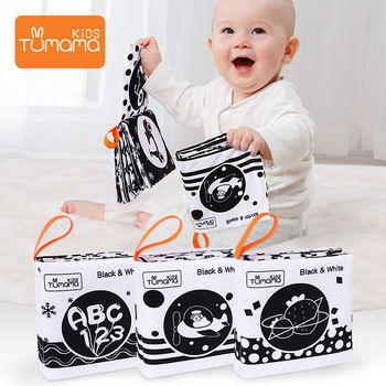 TUMAMA 3 Pack Soft Cloth Books ,Black and White Book Newborn 0-3 Months Early Learning Educational Toys 0 -12