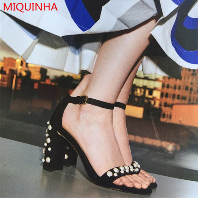 8ced03854 Miquinha Brand Red Black Suede Pearl Studded Ankle Strap Women Sandals  Chunky High Heel Open Toe Simple Summer Sandals Women