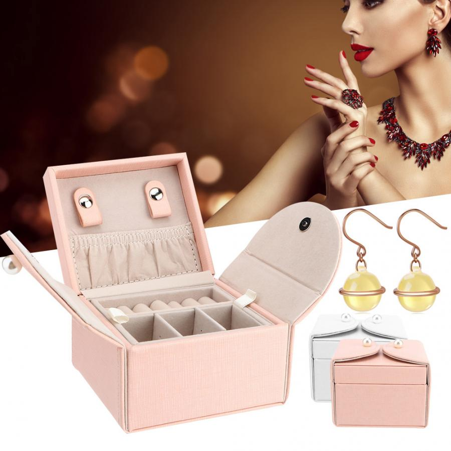 Simple PU Leather Jewelry Storage Box Case Portable Earring Ring Necklace Organizer Gift Jewelry Display Box For Jeweler Storage makeup organizer box